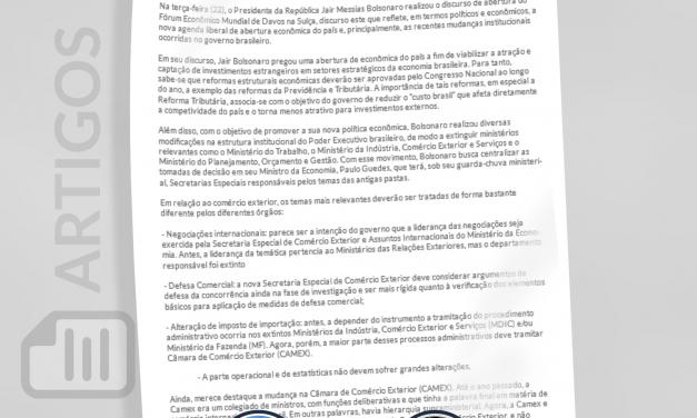 Discurso de Bolsonaro em Davos reflete mudanças institucionais no governo